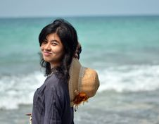 Free Portrait Of Asian Woman On Beach Stock Photography - 29926602