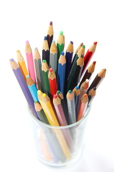 Free Color Pencils In The Glass For Artist Stock Image - 29937361