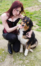 Free Young Woman With Australian Shepherd Dog Stock Photos - 29956913
