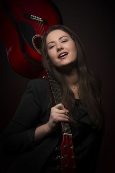 Free Beauty Guitar Woman Portrait Stock Photos - 29951373