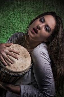 Free Beautiful Sexy Woman Playing Djembe Drum Stock Photos - 29951443