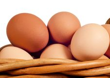 Free Farm Fresh Eggs In Basket Close Up Isolated Stock Photos - 29952063