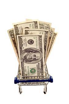 Shopping Cart Full Of Money  Close Up Shot  Isolated Royalty Free Stock Image