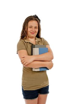 Free Girl Holding Books And Smiling Isolated Royalty Free Stock Photo - 29952105