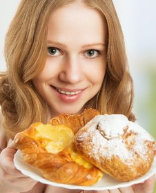 Happy Young Woman Offers Treats Cakes, Scones, Muffins, Biscuits Stock Photos