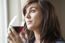 Free Young Woman In Lingerie Drinking Red Wine Royalty Free Stock Photos - 29957368