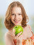 Free Healthy Woman Eating Fruit, Green Apple At Home Stock Photos - 29956003
