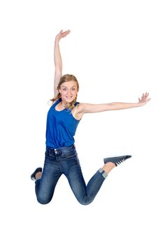 Free Young Happy Caucasian Woman Jumping Stock Photos - 29961863