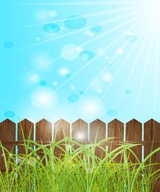 Fence, Green Grass And Blue Bokeh. Royalty Free Stock Image