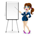 Free Business Woman Points To The Flip Chart Royalty Free Stock Images - 29970999