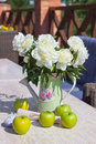 Free Ripe Green Apples And A Vase Of Peonies On A Marbl Royalty Free Stock Photography - 29972337