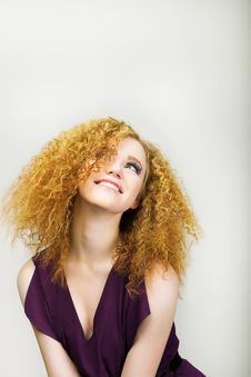 Free Lifestyle. Radiant Happy Woman With Curly Golden Hairs Smiling. Positive Emotions Stock Photos - 29972733