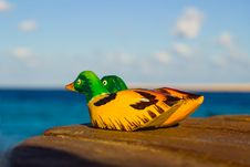 Wooden Figurines Mandarin Duck. Symbol Love Royalty Free Stock Images