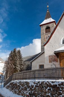 Free A Wintertime View Of A Small Church With A Tall Steeple Royalty Free Stock Photos - 29979838