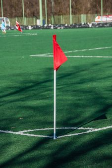 Football Pitch Corner Flag Stock Photos