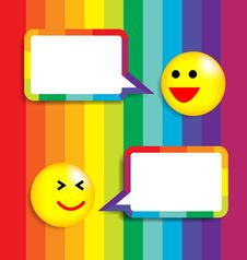 Free Colorful Background With Speech Bubble And Face Ic Stock Photos - 29987153