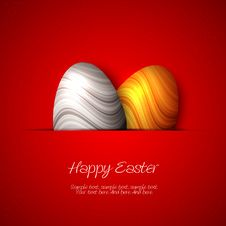 Free Happy Easter Card - Silver And Golden Eggs Royalty Free Stock Photography - 29988437
