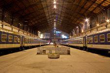 Budapest West Railway Station At Night Stock Photos