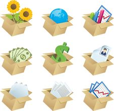 Free Business Icons In Boxes - 1 Stock Images - 29998204