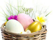Easter Egg In The Basket Stock Photo