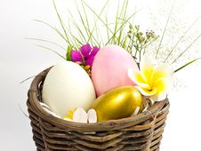Easter Egg In The Basket Royalty Free Stock Photography