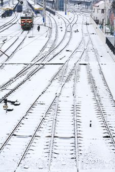 Free Background Of Railway Lines In Winter Royalty Free Stock Photo - 29998905