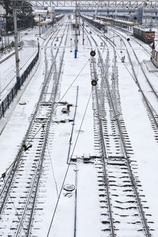 Free Background Of Railway Lines In Winter Stock Image - 29998911