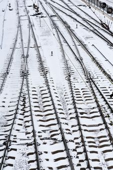 Free Background Of Railway Lines In Winter Royalty Free Stock Photography - 29998917