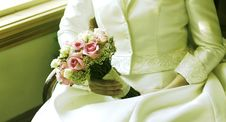 Free Flowers And Her Wedding Dress Royalty Free Stock Image - 31996