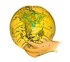 Free Illustrated Globe In Hand Royalty Free Stock Images - 33939
