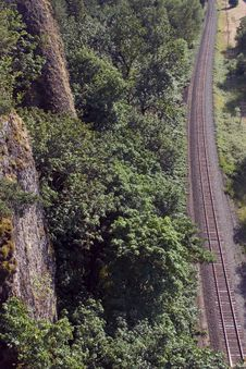 Free Railroad Tracks Running Past Cliff. Stock Photo - 39400