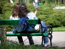 Free Two Girls On A Bench Stock Photos - 301453