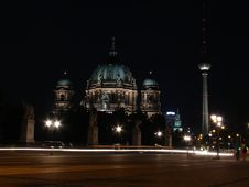 Free Berliner Dom At Night Stock Photography - 303442