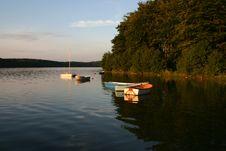 Bay Boats At Sunset Royalty Free Stock Image