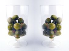 Free Two Glasses Of Green Olives Royalty Free Stock Photos - 305908