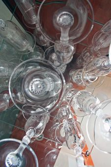 Free Crystal Glasses Shot From Below Royalty Free Stock Image - 309006