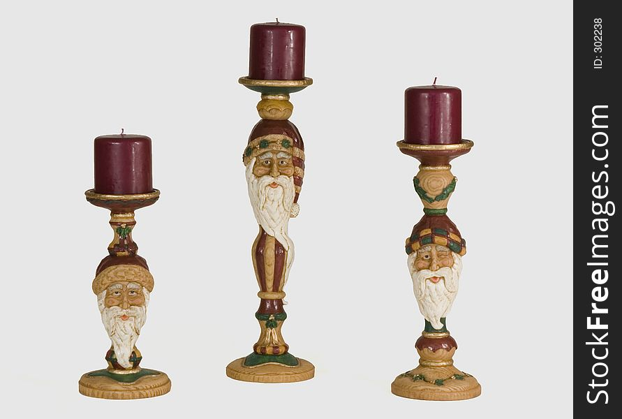 Three Santa Candleholders