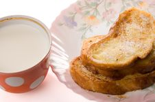 Toast And Milk Royalty Free Stock Photography
