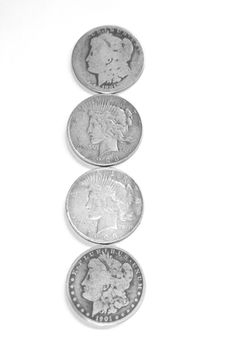 Old Silver Dollars Royalty Free Stock Image
