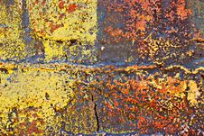 Grunge Painted Brick Wall Stock Photography
