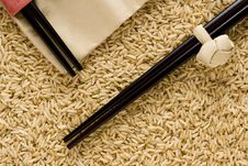 Free Brown Rice And Chopstics Royalty Free Stock Photography - 3006927