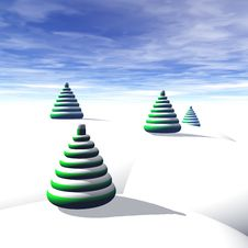 Free Christmas Trees And Snow Royalty Free Stock Photography - 3007497