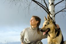 Free Woman With Dog Stock Photography - 3008942