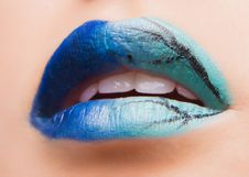 Free Beautiful Make Up On Lips Royalty Free Stock Photos - 30000348