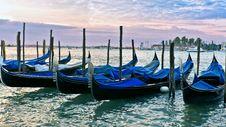 Venetian Gondolas At Sunrise Stock Images
