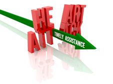 Free Arrow With Phrase Timely Assistance Breaks Phrase Heart Attack. Stock Image - 30010201