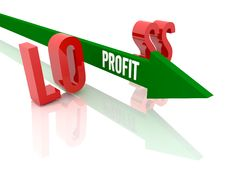 Arrow With Word Profit Breaks Word Loss. Royalty Free Stock Images