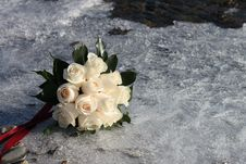Free Bridal Bouquet Bridal Bouquet Of White Roses On The Ice Stock Image - 30015031