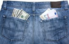 Free Jeans With Currency In Their Pockets Stock Photo - 30016530