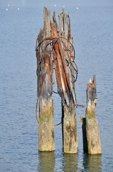 Part Of Old Wooden Pier Stock Images